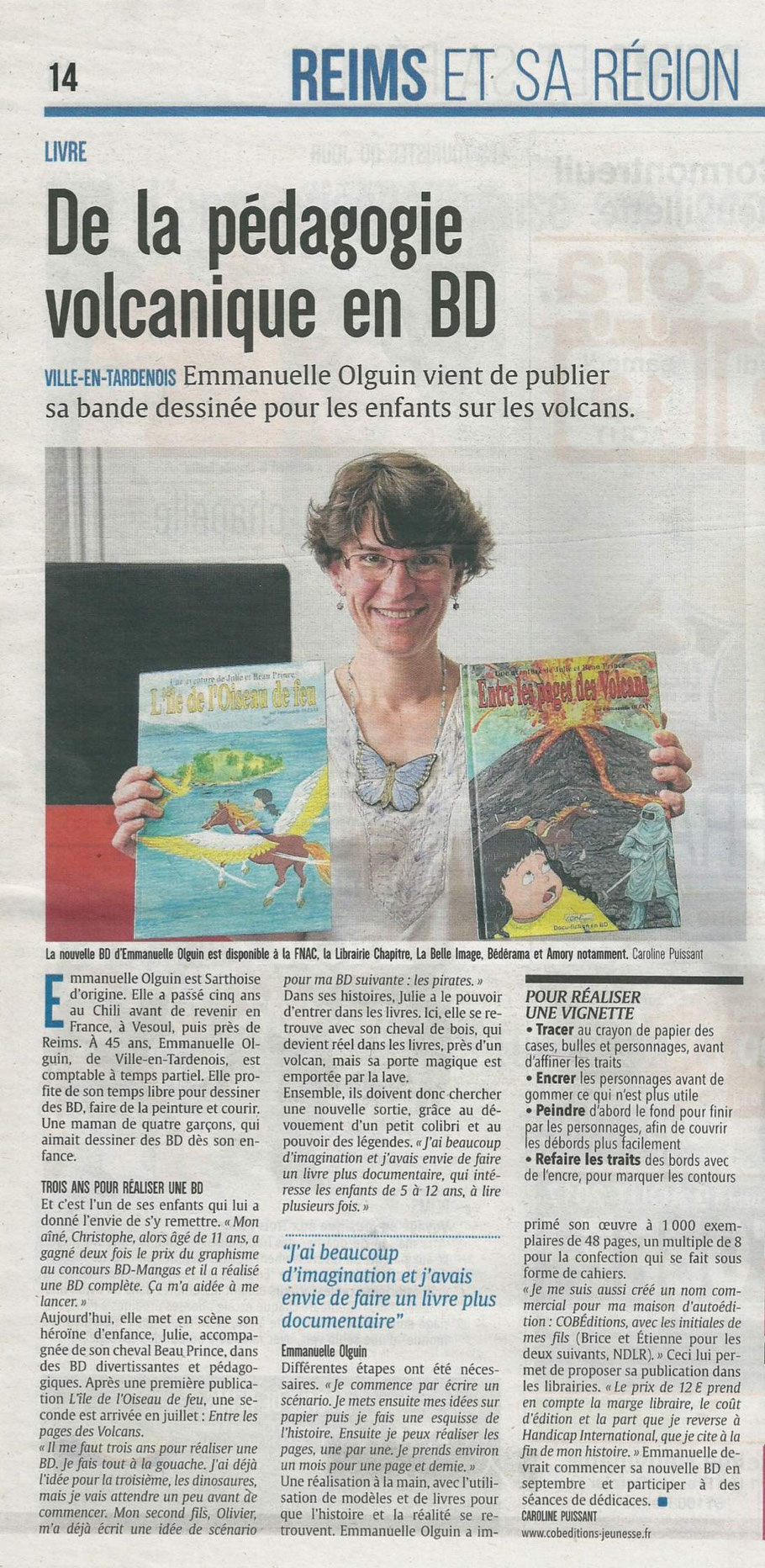 """Article dans le journal """"L'Union"""". De la pédagogie volcanique en BD. Emmanuelle OLGUIN. COBEditions. Julie et Beau Prince."""