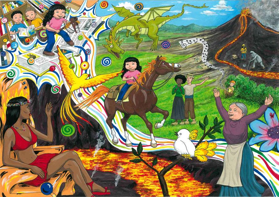 """Julie et son cheval Beau Prince pénètrent dans le monde merveilleux d'un livre. On y retrouve les personnages principaux des BD (bandes dessinées) des 2 tomes : """"L'île de l'Oiseau de feu"""" et """"Entre les pages des Volcans"""""""