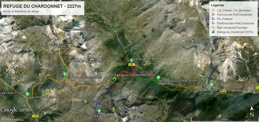 Carte google earth du refuge du chardonnet