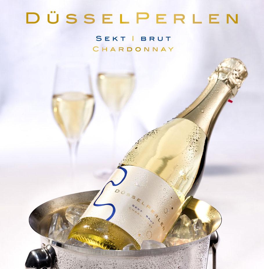 Etikett, Goldfolie, Weinetikett, Düsselperlen, Sekt, Düsseldorf