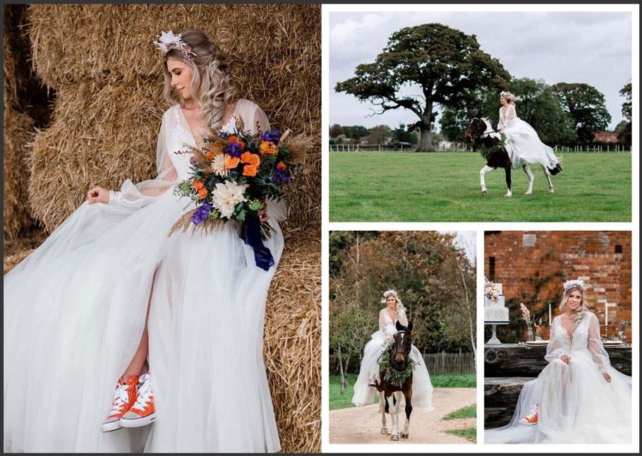 New Forest Horseback Bride Wedding Shoot