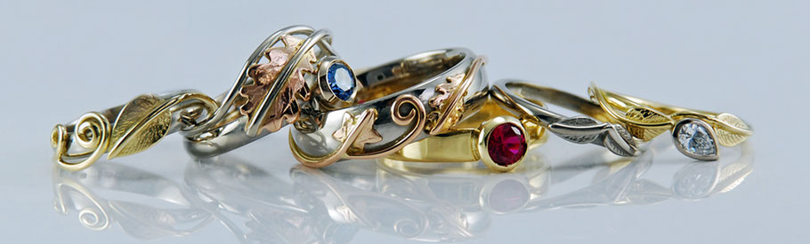 Award Winning Nature & Leaf Inspired Fine Artisan Jewellery - Rings 18ct gold