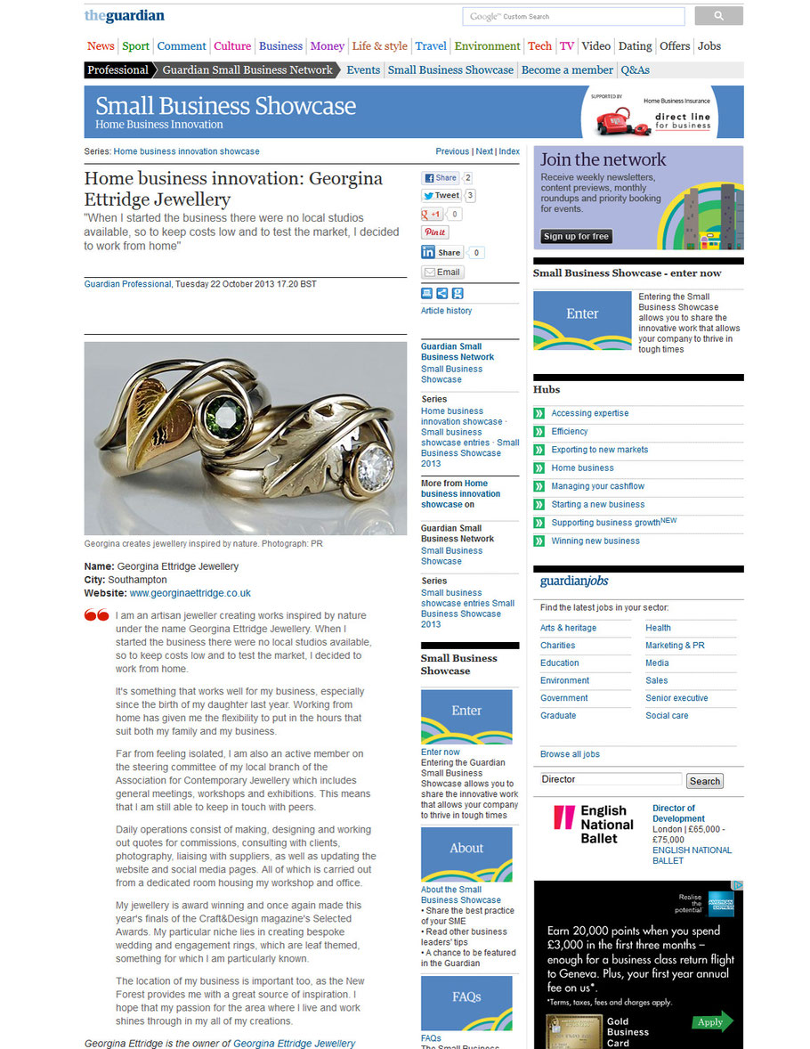 Georgina Ettridge Jewellery Guardian Article