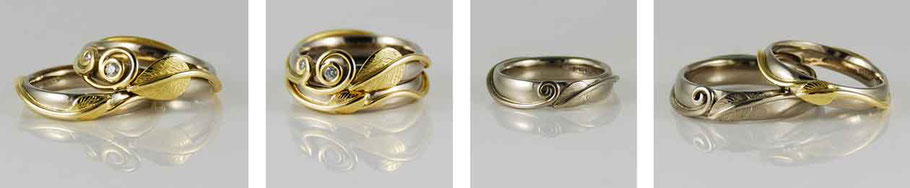 Leaf & Two Tendrils 18ct Gold & Diamond Nature Inspired Wedding Rings