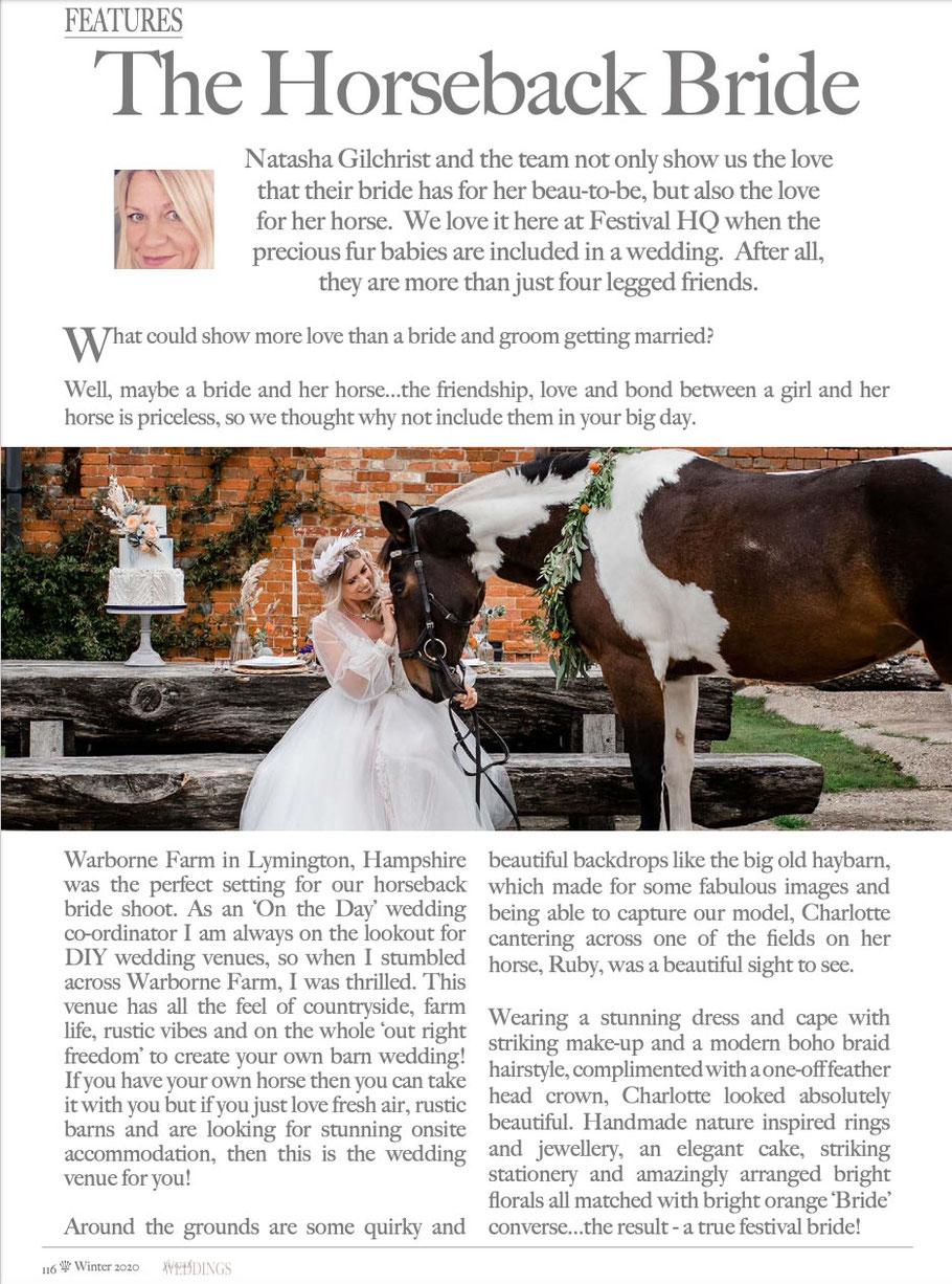 New Forest Horse Back Bridal Wedding Shoot