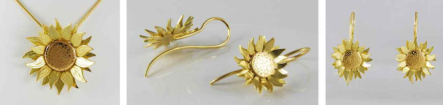 Sunflower Jewellery Necklace and Earrings 18ct Yellow & Red Gold
