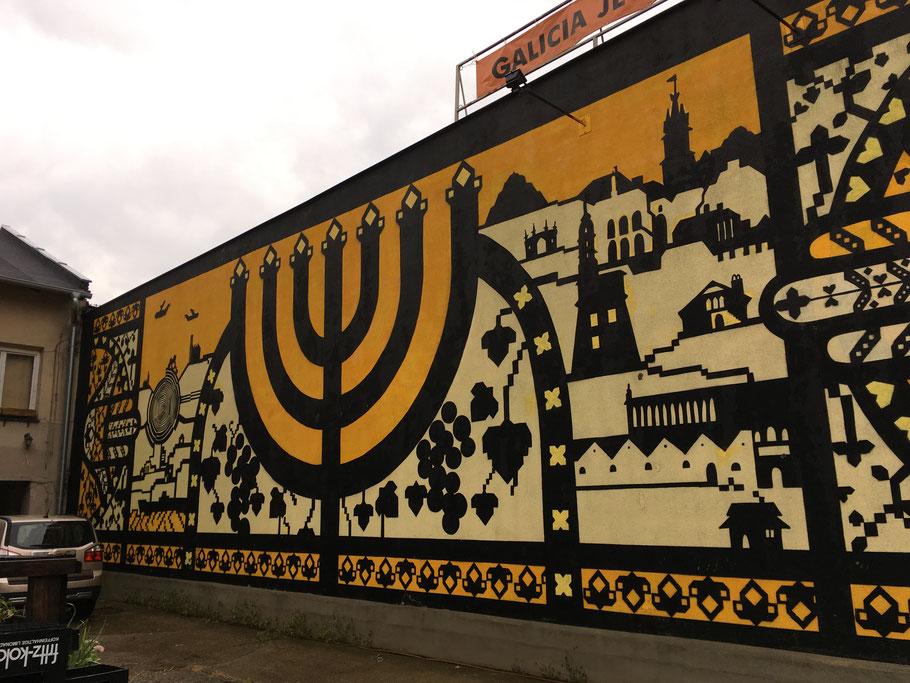 Wandgemälde an der Hauswand des jüdisch-galizischen Museums, No. 18 Dajwór Straße