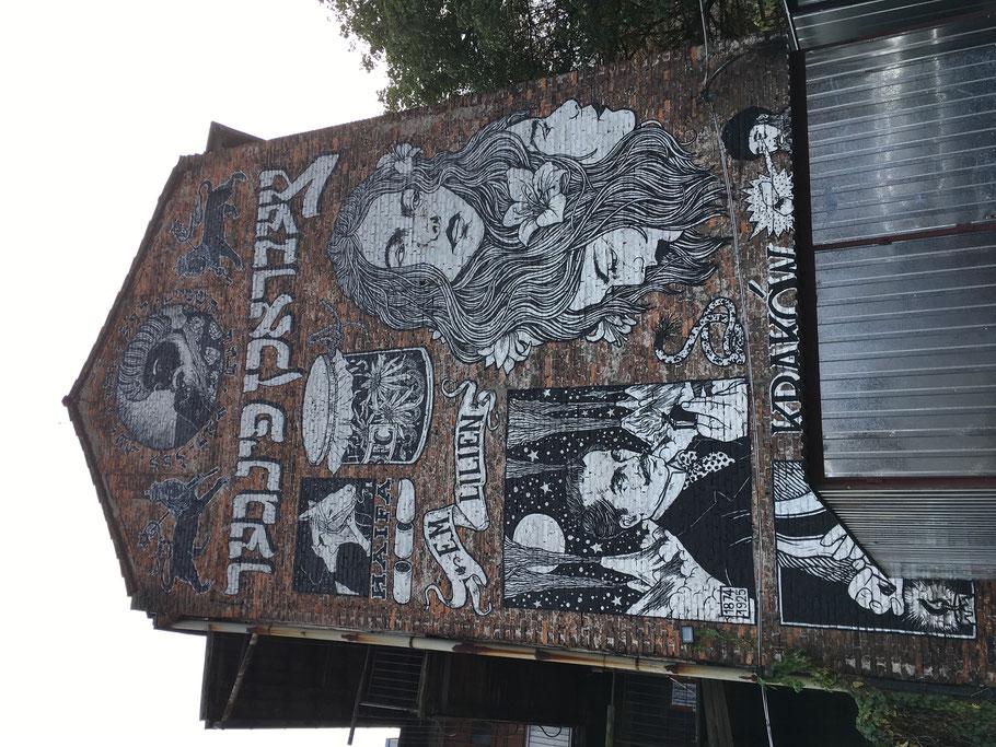 Wandgemälde der Graffiti-Gruppe Broken Fingaz, No. 3 Bawół Platz