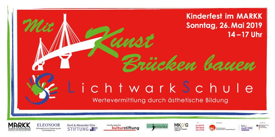 Motiv: Einladungskarte zum Kinderfest am 26. Mai der LichtwarkSchule im MARKK Museum am Rothenbaum