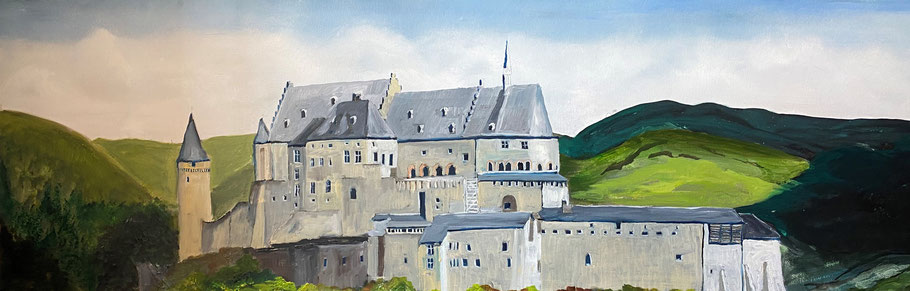 Kasteel van Vianden, Luxemburg, olieverf, 40x120 cm