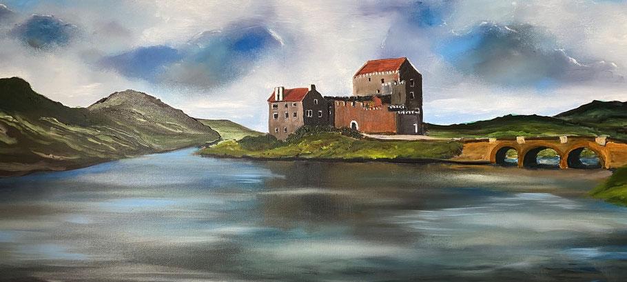 Eilean Donan Castle, Schotland, olieverf, 40x120 cm