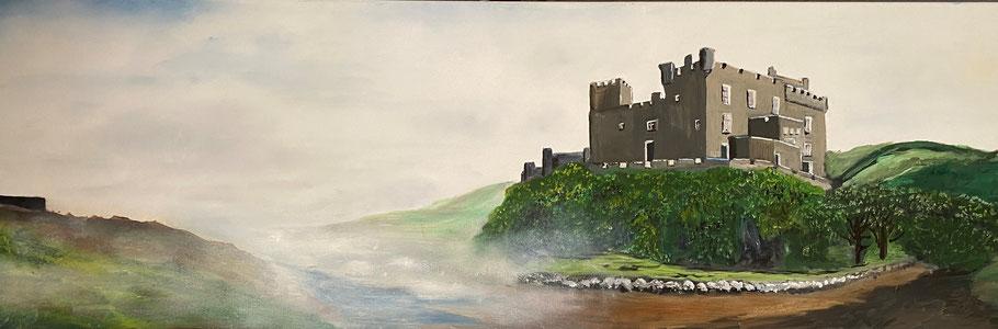 Duvegan Castle, Skye, olieverf, 40x120 cm