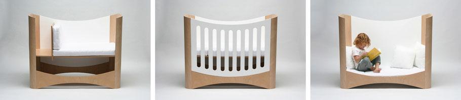 Mitwachsendes Kindermöbel als Beistellbet Gitterbett Kindercouch