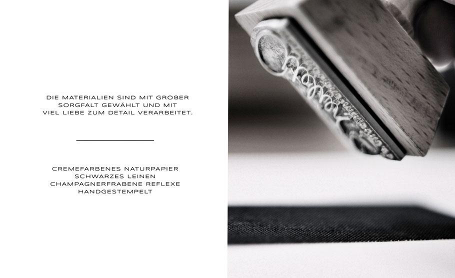 atelier s. Hamburg - Sandra Simon - Schmuckdesign - lookbook 2018 - DIE MATERIALIEN SIND MIT GROßER SORGFALT GEWÄHLT UND MIT  VIEL LIEBE ZUM DETAIL VERARBEITET - CREMEFARBENES NATURPAPIER  SCHWARZES LEINEN - CHAMPAGNERFRABENE - REFLEXE - HANDGESTEMPELT