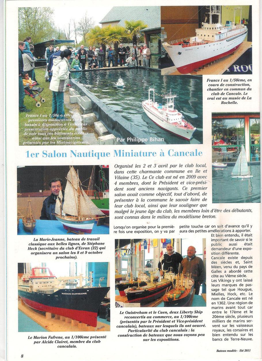 bateau modèle été 2011 article de Philippe Bihan
