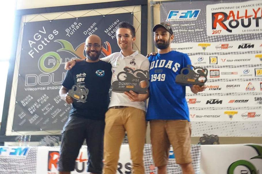 Tanguy Brebion remporte la catégorie (au milieu), Jean-Mary Aulas fini 2e grace à sa régularité (à droite) c'est mon principal concurrent !