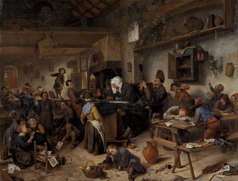 """Jan Steen, """"Una scuola per ragazzi e ragazze"""" (1670)"""