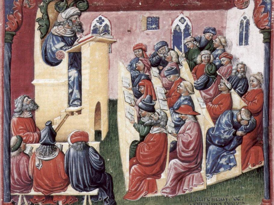 Immagine di una scuola risalente al XIV secolo