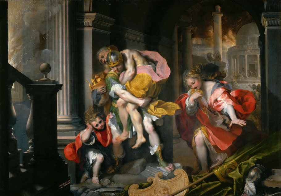 F. Barocci rappresenta Enea in fuga da Ilio in fiamme (1598) [Fonte: Ars Europa]