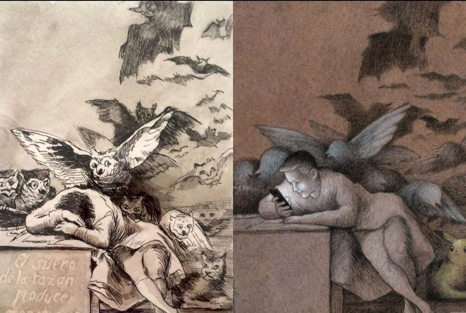 """Francisco Goya, """"Il sonno della ragione genera mostri"""" (1797) - Paweł Kuczyński, """"Il sonno della ragione"""""""