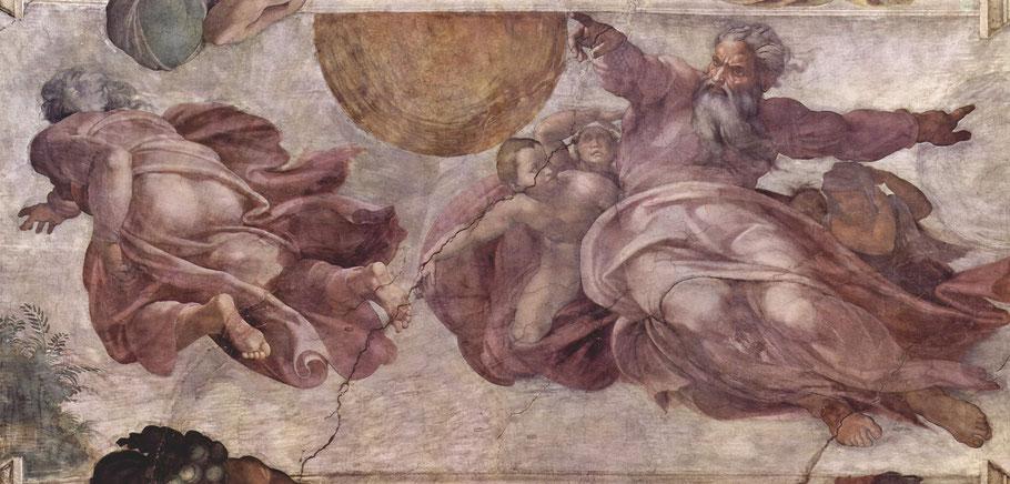 """Michelangelo, """"Creazione degli astri e delle piante"""" (1511-12)"""