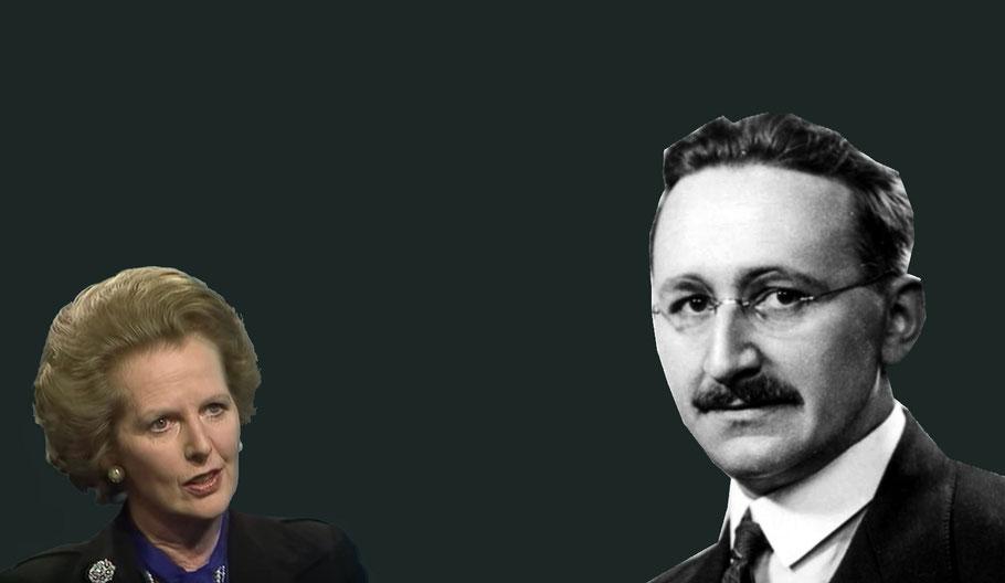 Margaret Thatcher e Friedrich A. von Hayek