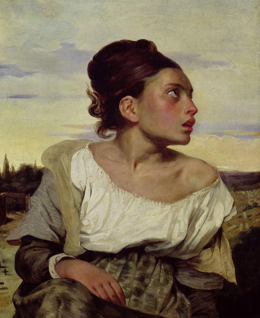 """E. Delacroix, """"Giovane orfana al cimitero"""" (1824)"""