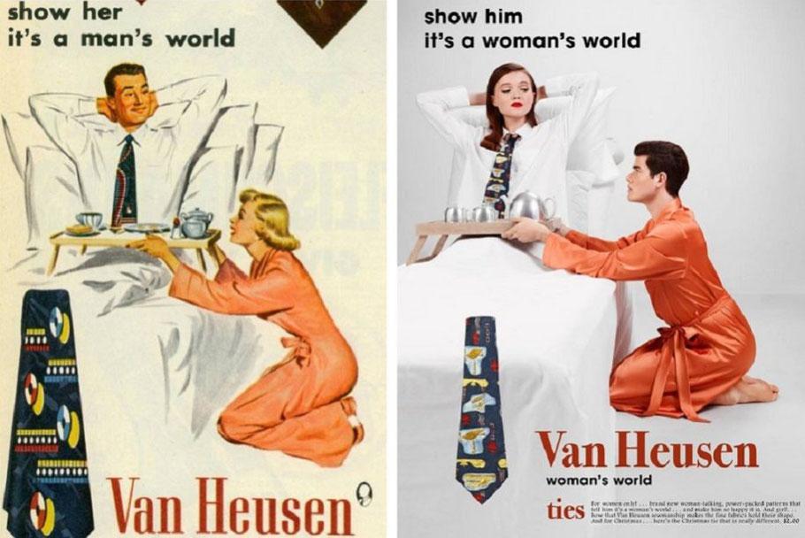 """A destra, annuncio pubblicitario delle cravatte Van Heusen (1951); a sinistra, Eli Rezkallah, """"In a parallel universe"""" (2017)"""