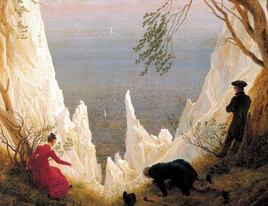 """C.D. Friedrich, """"Le bianche scogliere di Rügen"""" (1818), particolare"""