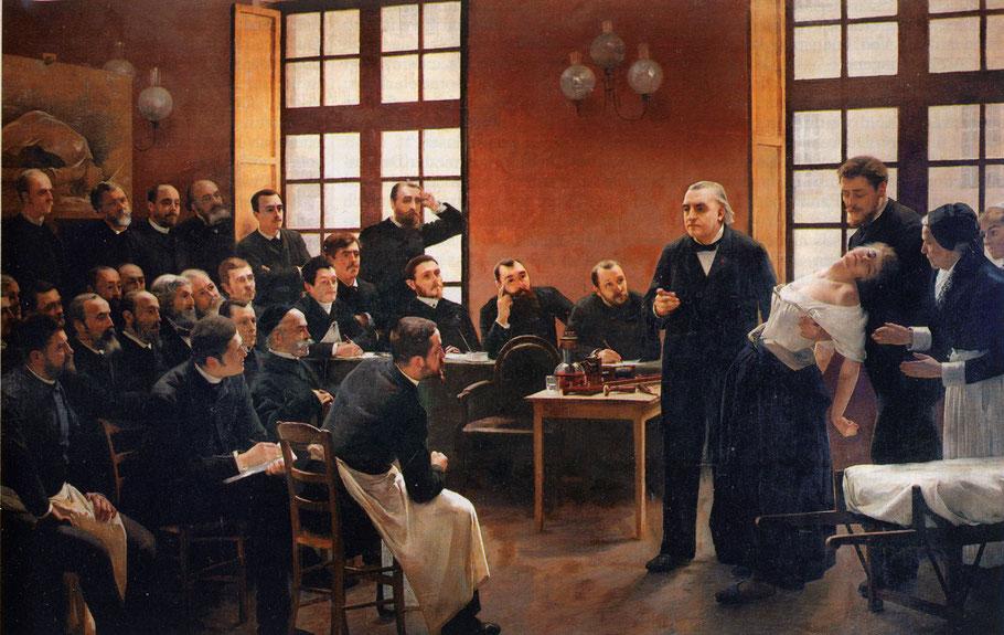 """André Brouillet, """"Una lezione Clinica presso la Salpêtrière"""" (1887)"""