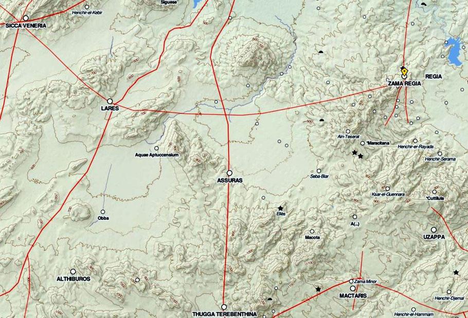 Djama (Zama Regia) - Henchir Mdeïna (Althiburos) -  Zanfour (Assuras) - Ellès - Makthar (Mactaris) - Ksour Abd-el-Melek (Uzappa) : Les voies de communication romaines