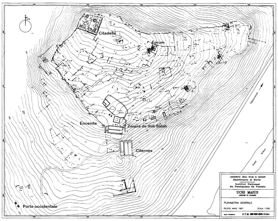 Henchir Douamis - Uchi Maius : Plan général du site
