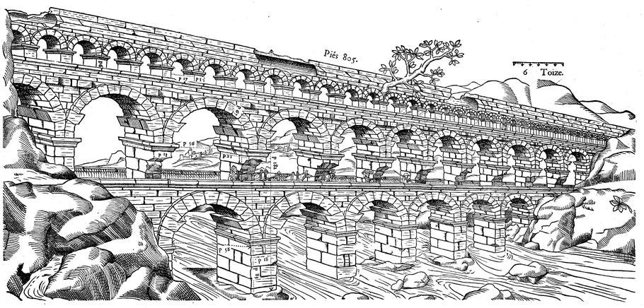 Nîmes (Nemausus) - Pont du Gard : Gravure sur bois, Jean Poldo D'Albenas (1560)