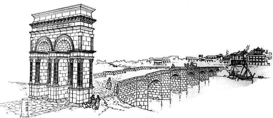 Aquitaine - Saintes - Mediolanum santonum - Evocation du pont romain de Saintes pendant l'antiquité (Dessin de Pierre Samson)