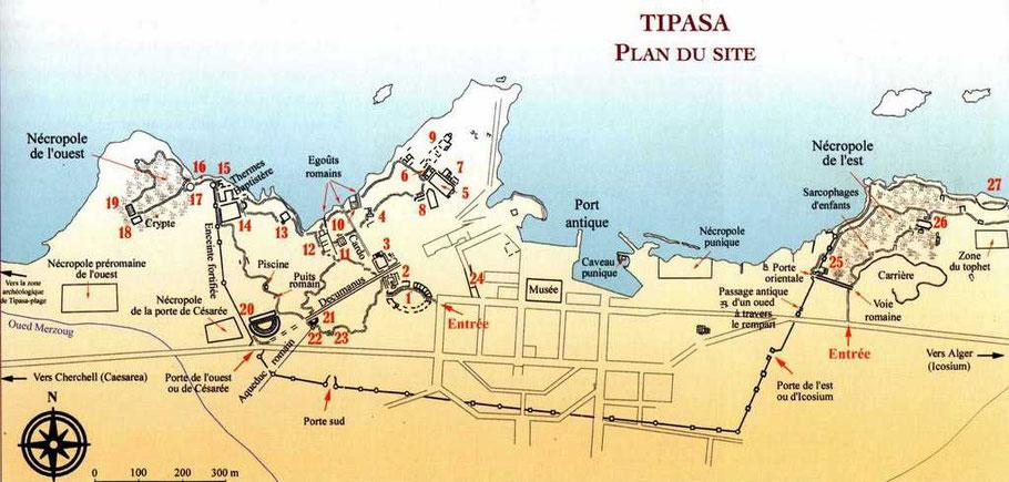 Tipasa de Maurétanie : Plan du site