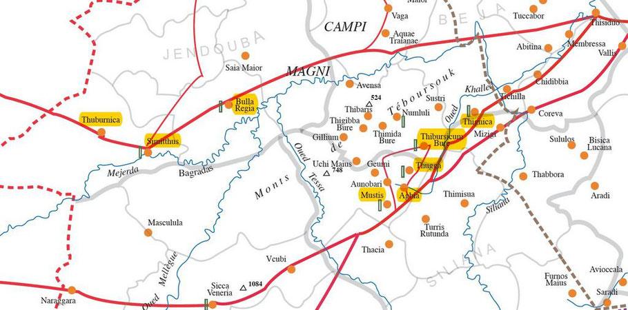 Les principales voies romaines de communication : Thignica - Thubursicum Bure -Thougga - Agbia - Mustis - Bulla Regia - Simitthu - Thuburnica - Bordj Hellal