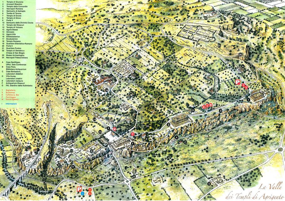 Italie - Sicile - Agrigente : Plan du site archéologique de la Vallée des temples