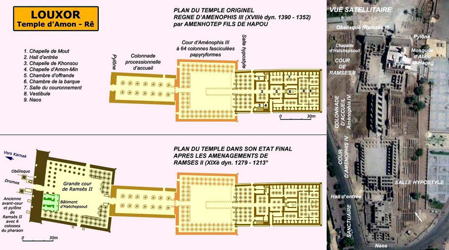Louxor - Temple d'Amon-Rê - Egypte pharaonique - Aménophis III - Ramsès II