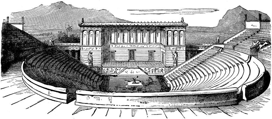 Ségeste - Théâtre : Restitution par l'image (Gravure sur bois (XIX° siècle))