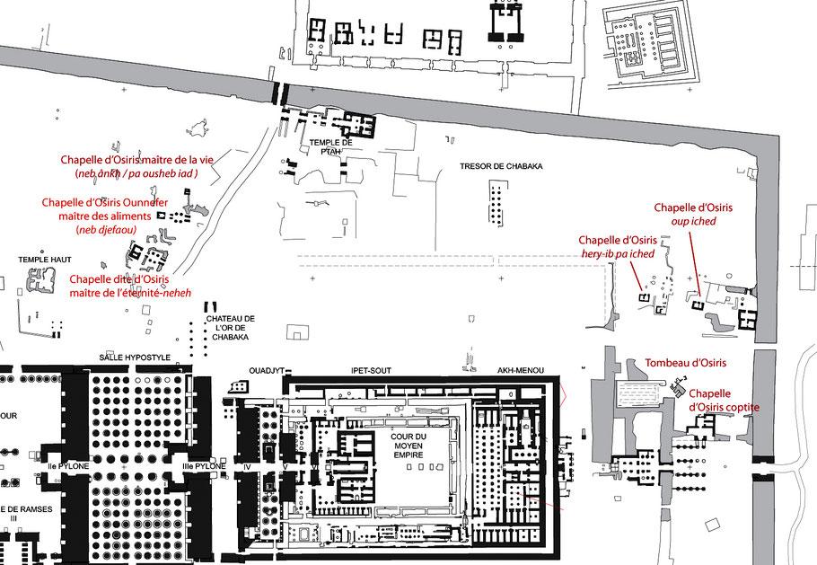 Karnak - Sanctuaires osiriens (vue partielle du site) - Chapelle d'Osiris Ounnefer neb djefaou