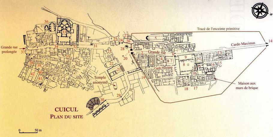 Djemila (Cuicul) : Plan du site