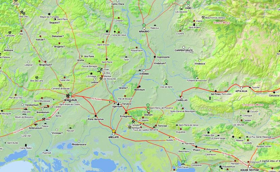 Carte des voies romaines aux alentours d'Arelate (Arles)