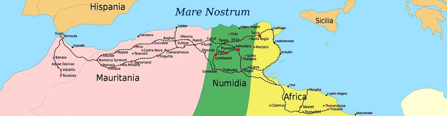 Carte des provinces romaines d'Afrique du Nord