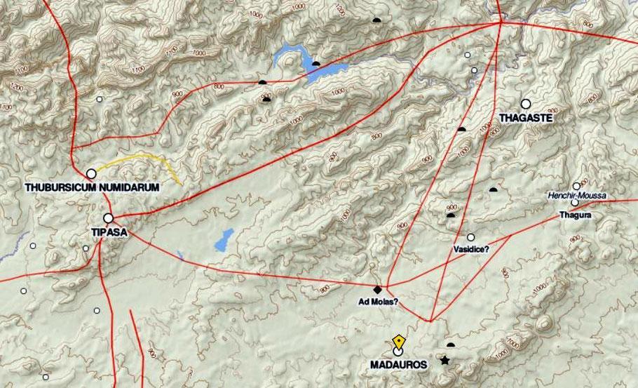 Madaure (Madauros) - Khemissa (Thuburnicu Numidarum) - Ksar Tifech (Tipasa de Numidie) : Les voies de communication romaines