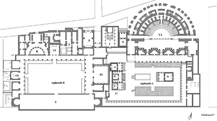 Bulla regia : Plan d'ensemble du complexe monumental (esplanades A et B) à l'époque romaine
