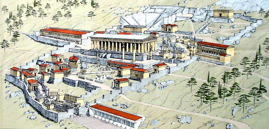 GR - Delphes : le sanctuaire d'Apollon, reconstitution - Grèce