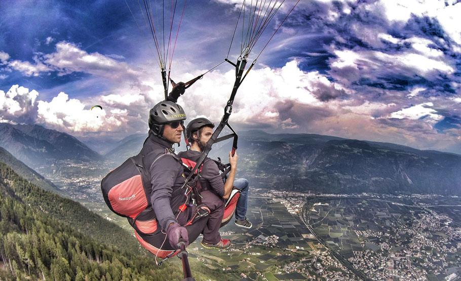 Tandem Paragliding Geschenk Gutschein Erlebnis Hirzer Meran Vigiljoch Unterstell