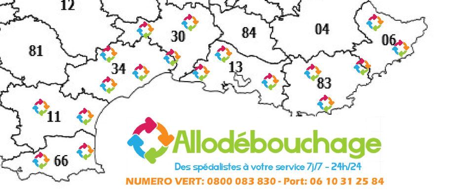 Debouchage de canalisation Var 83, Herault 34, Alpes Maritimes 06, 13.