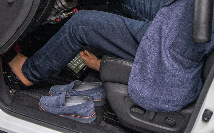 Autofahren mit fehlenden Gliedmaßen, Fußlenkung, Touchdisplay, Sodermanns