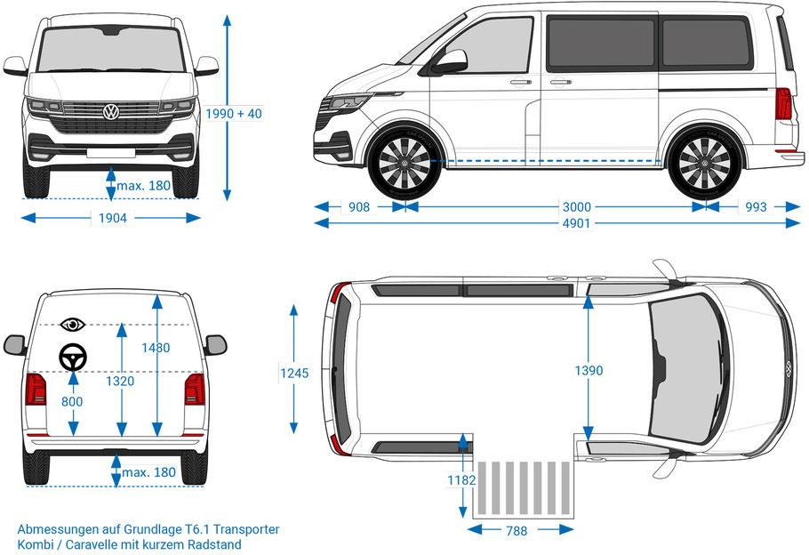 behindertengerechter VW T6.1 Selbstfahrerumbau, Maße, Sodermanns